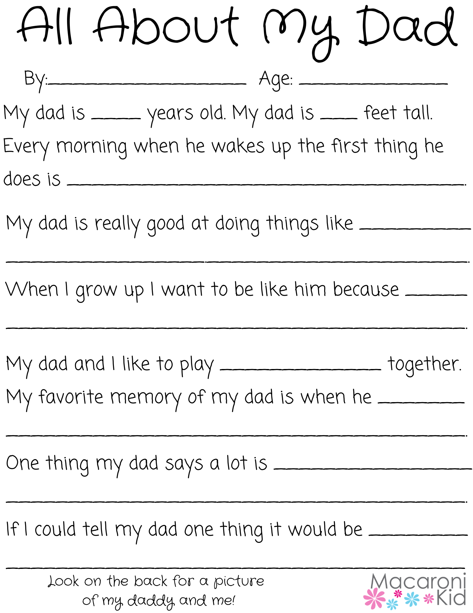All About My Dad A Father S Day Questionnaire And Free Printable Macaroni Kid Erie