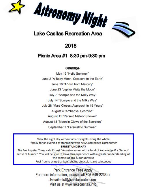 Astronomy Nights at Lake Casitas Recreation Area (LAKE