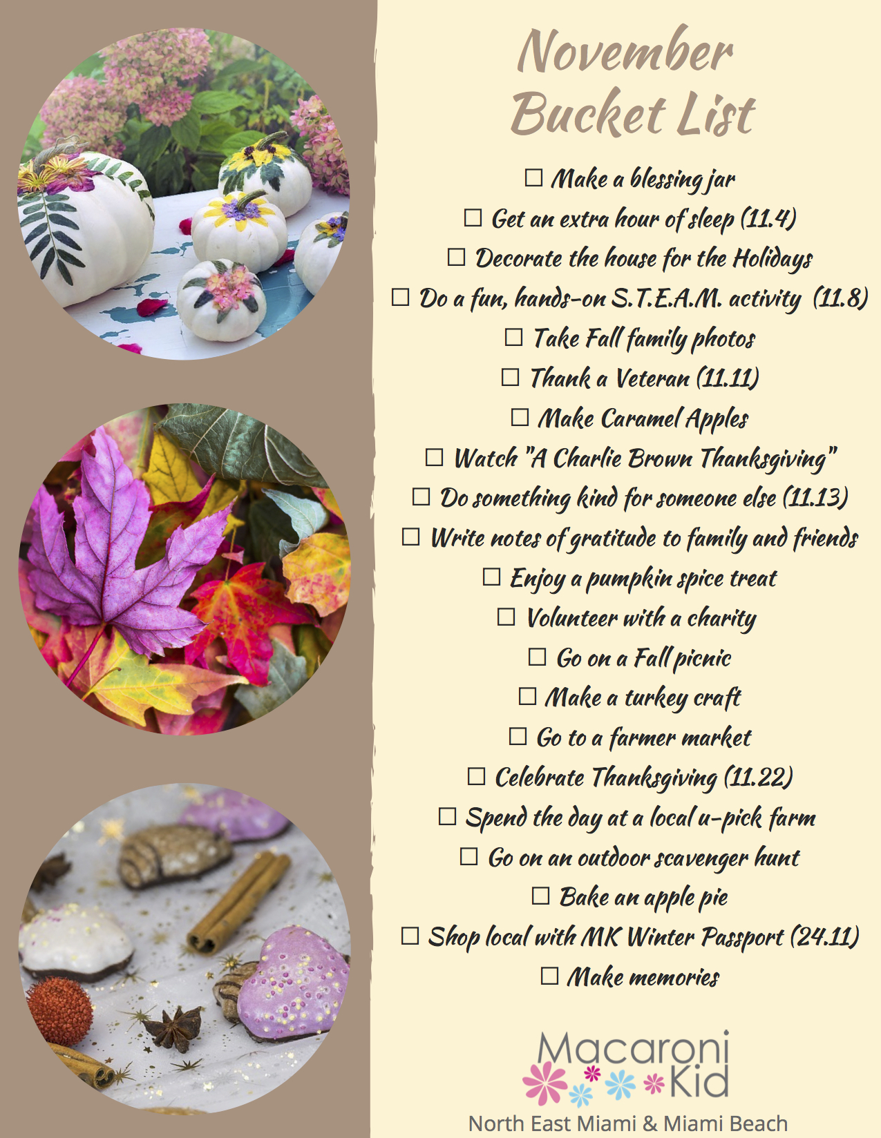 Free Printable November Bucket List Macaroni Kid Miami North East Miami Beach