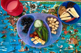 chickpeas cheese cubes snappeas olives cucumbers sliced apples and add a table spoon of peanut butter or chocolate hummus preschool lunch u37 lunch