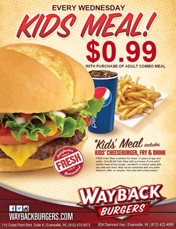 Kids 99 Cent Meals At Wayback Burgers