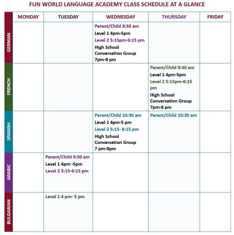 Fun World Language Academy Open House on Sunday January 13