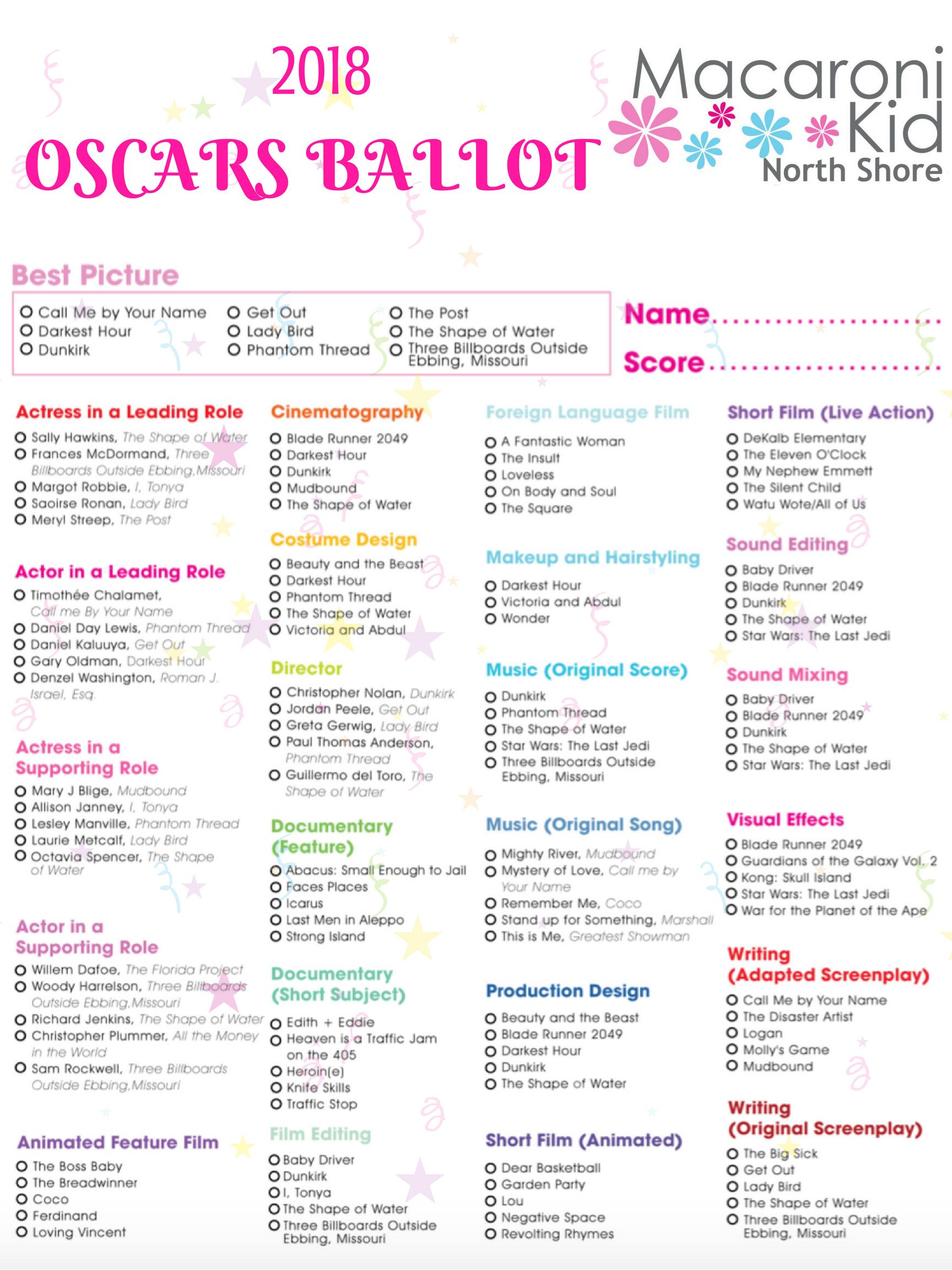 picture relating to Printable Oscar Ballot called 2018 Printable Oscars Ballot