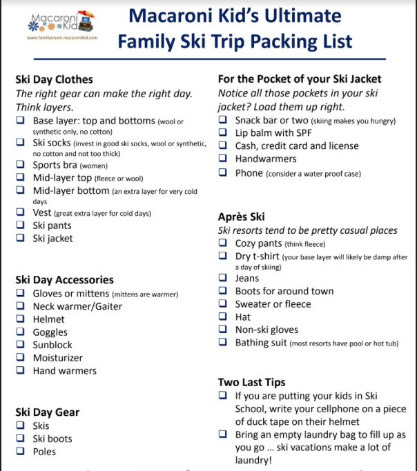 image about Ski Trip Packing List Printable called The Greatest Loved ones Ski Holiday vacation Packing Record (Absolutely free Printable!)