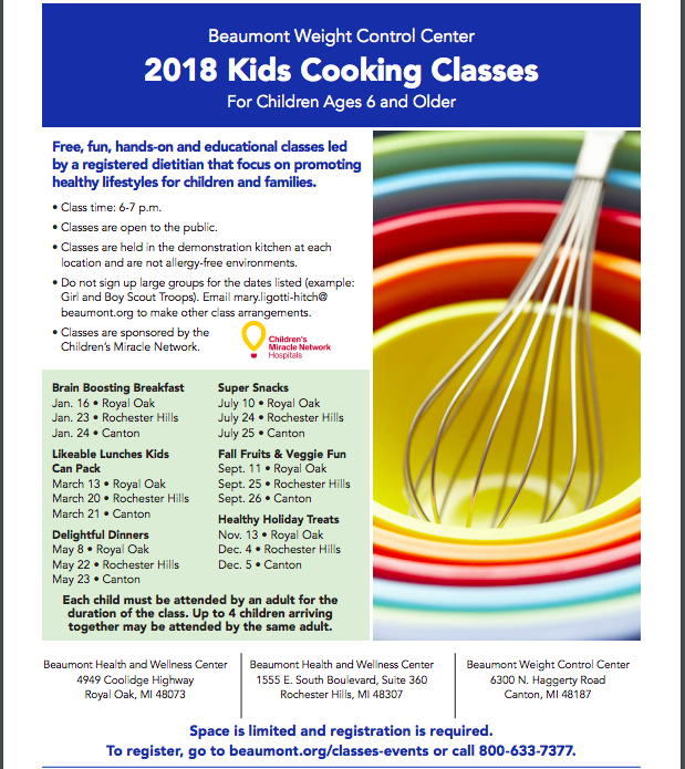 2018 Kids Cooking Classes at Beaumont Health