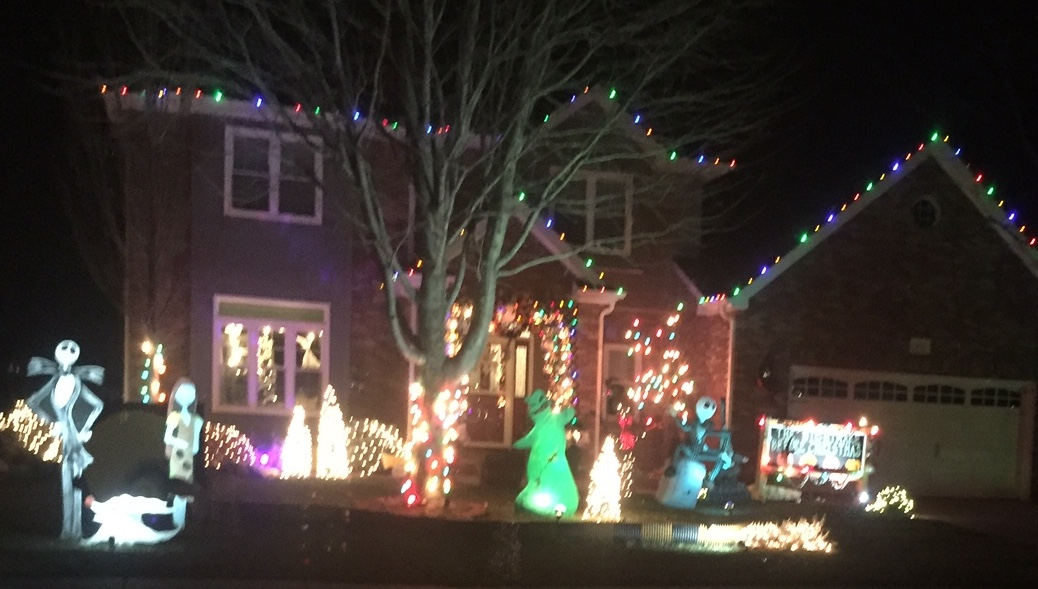 this house is decked out in the nightmare before christmas decorations this entire neighborhood is really well lit - Nightmare Before Christmas Lights