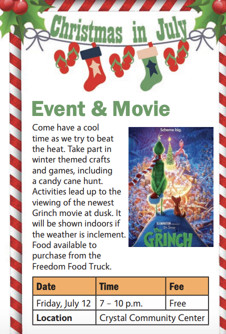 Christmas In July Movie.Christmas In July Event And Movie At The Crystal Community