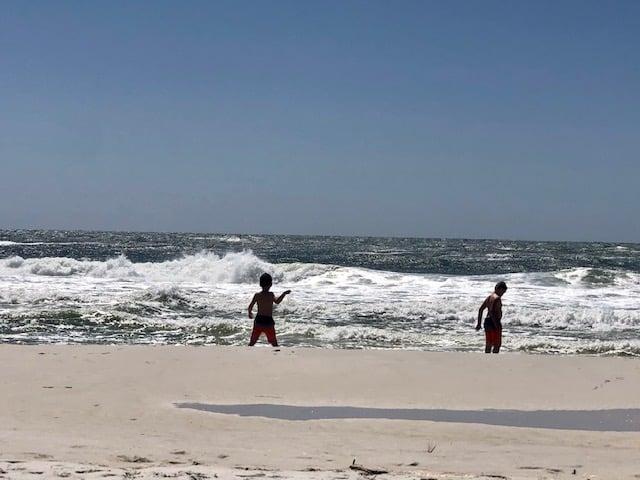 Kids having fun on beach in Florida, Island Hotel