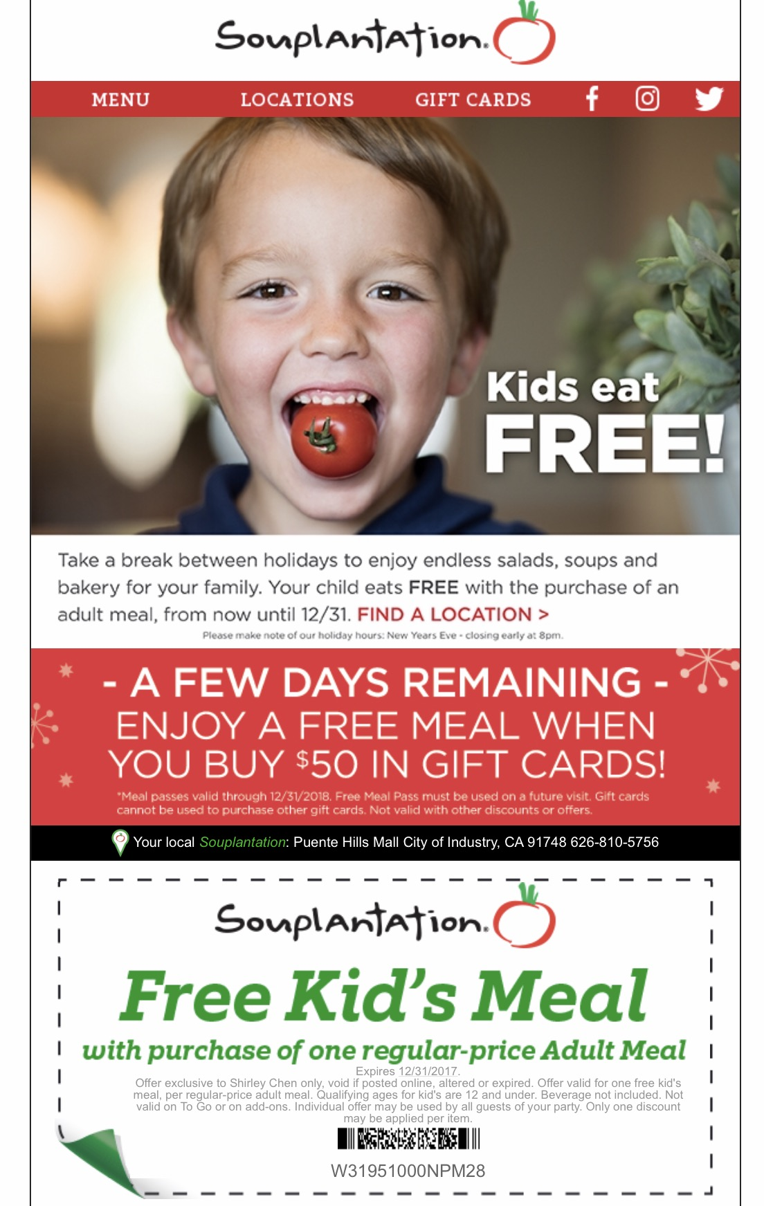 When All Kids Eat For Free >> Souplantation Kids Eat Free Plus Free Meals Coupons