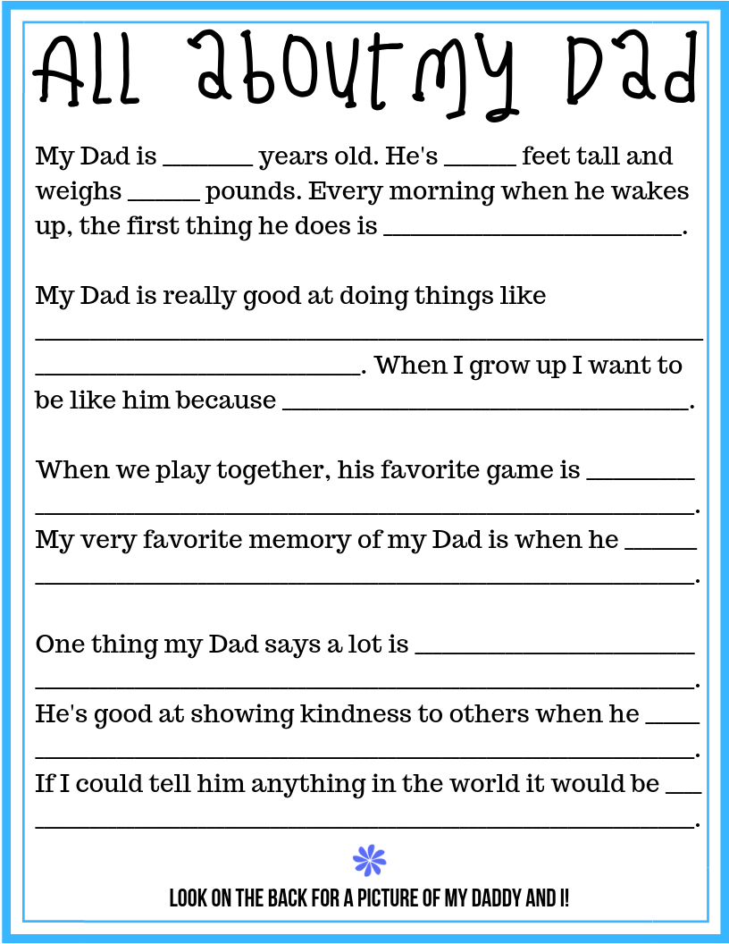 graphic relating to All About My Dad Free Printable identify All Above My Father: A Fathers Working day Questionnaire and Cost-free
