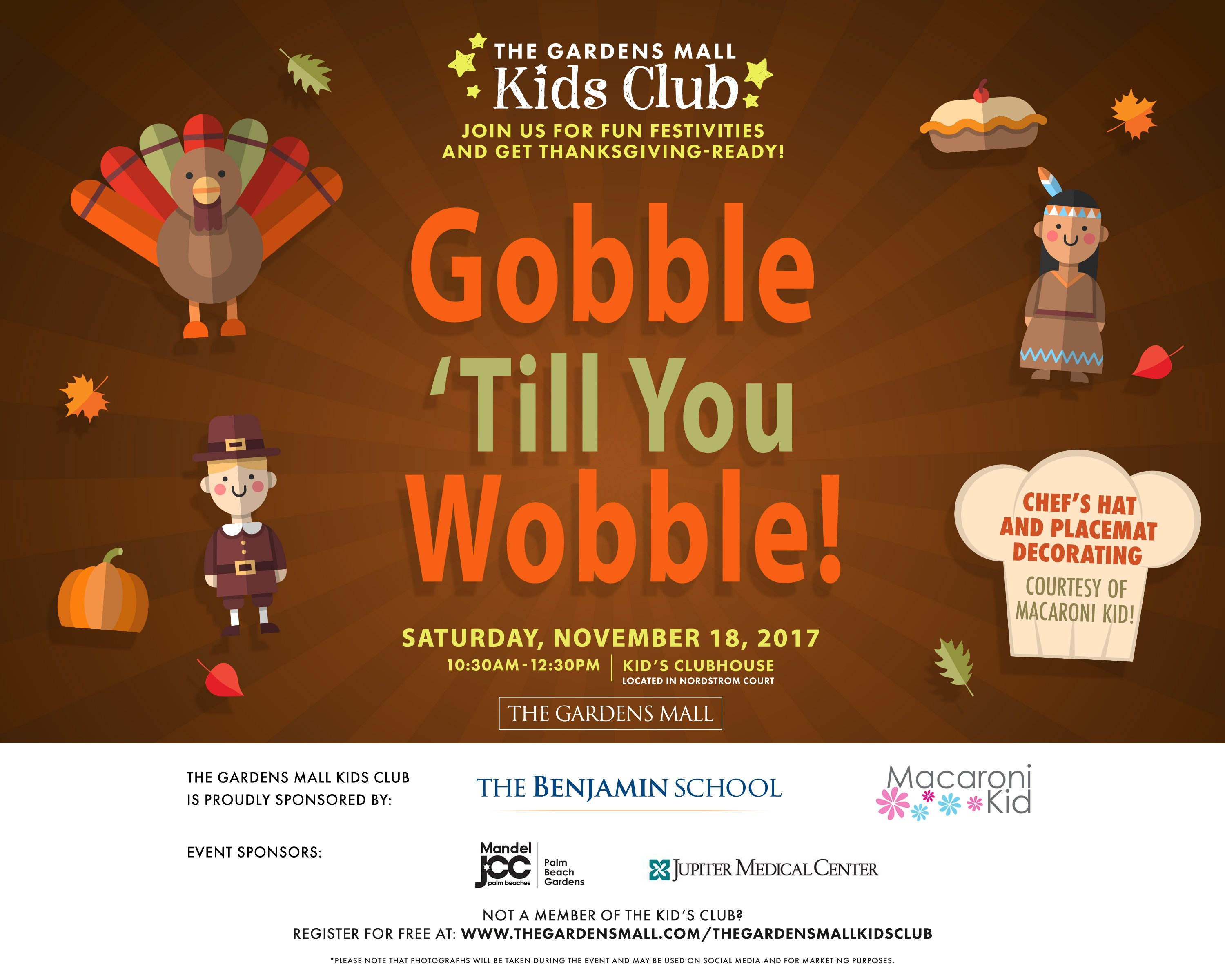 Gobble \'Till You Wobble with The Gardens Mall Kids Club: November ...