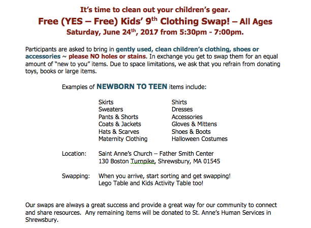 Free Kids Clothing Swap in Shrewsbury