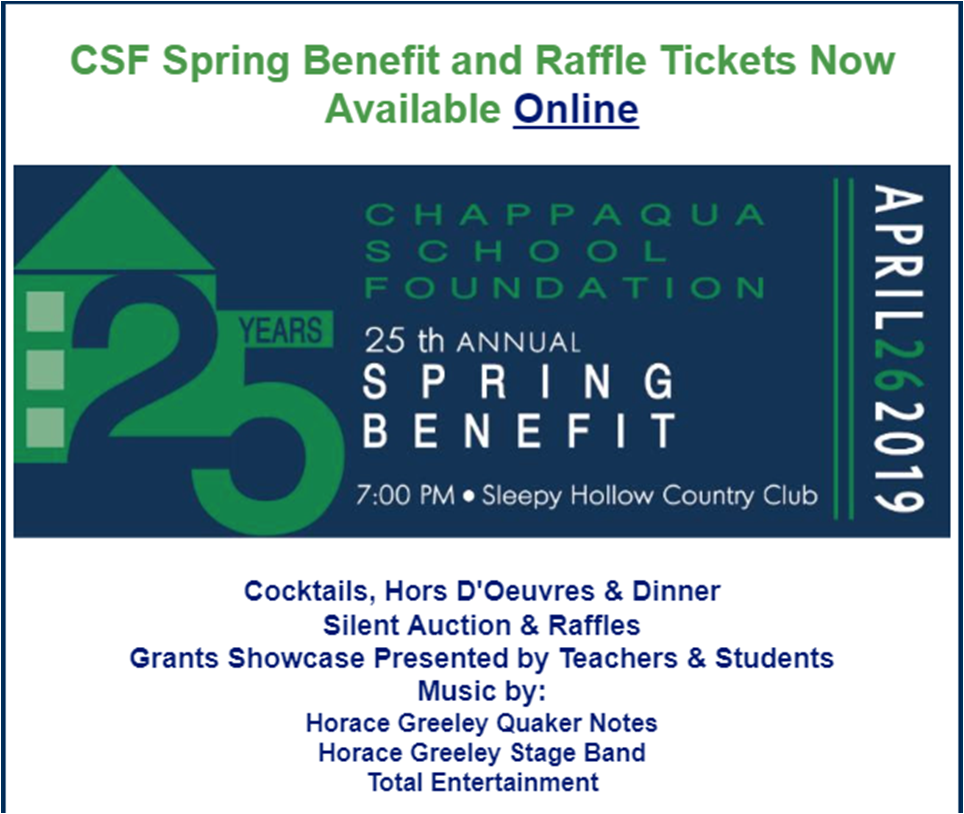 CSF Spring Benefit and Raffle Tickets Online Now
