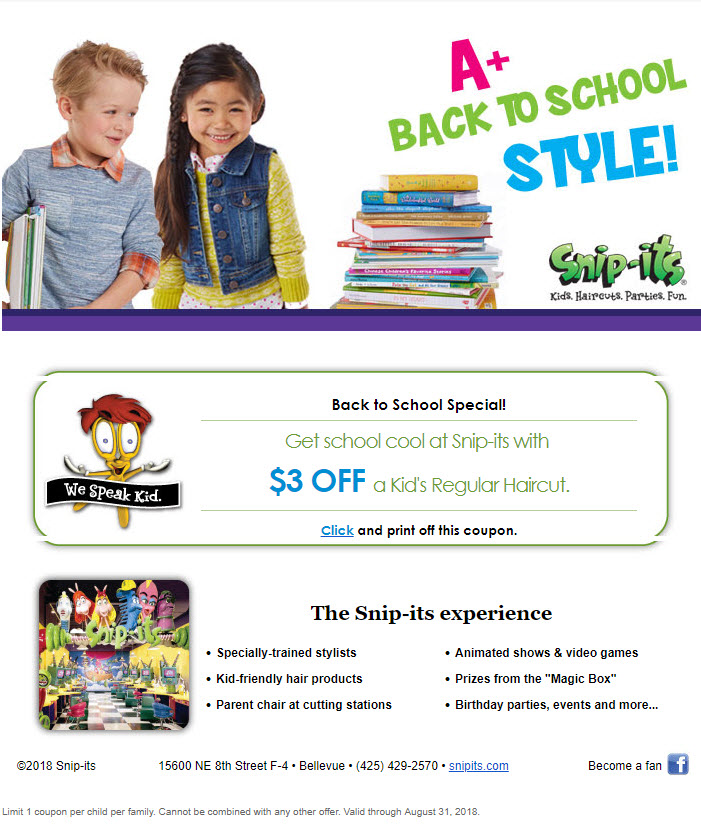Go Back To School In Style And Save At Snip Its Haircuts For Kids