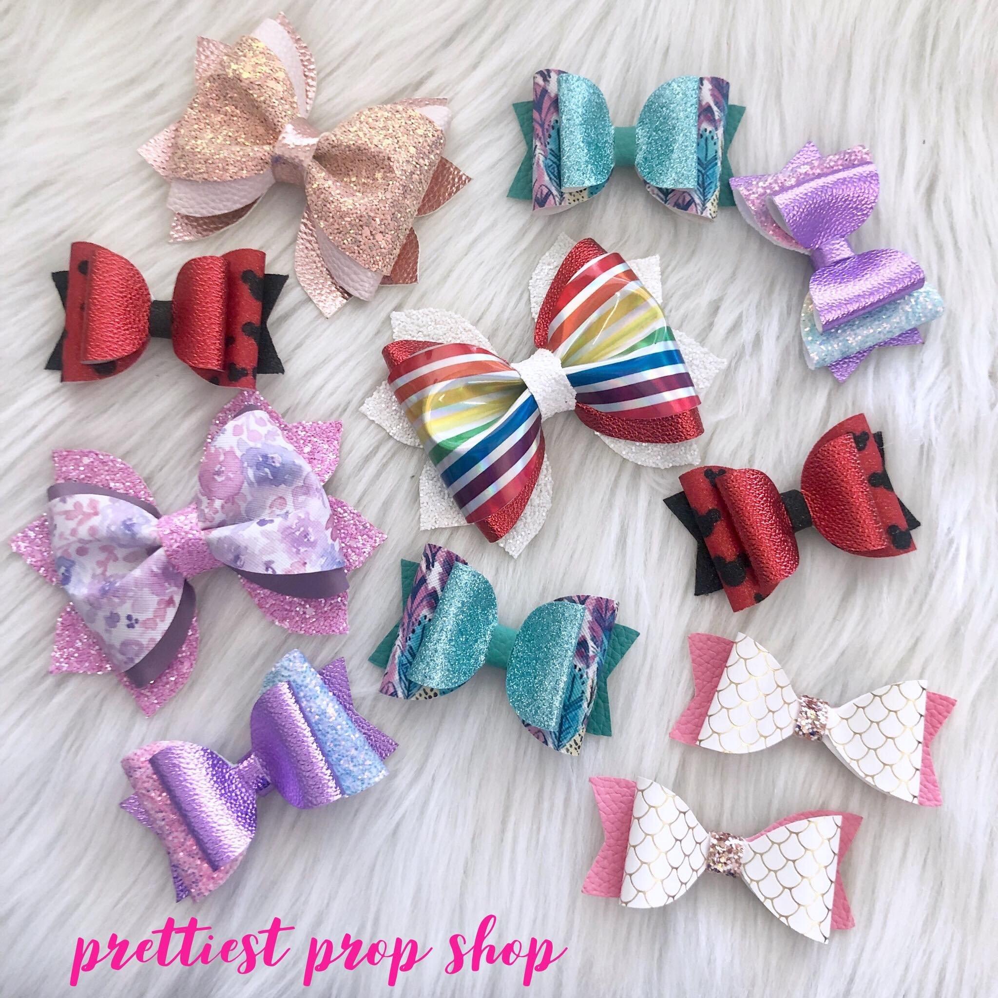 Isla Rainbow Bow Set- Newborn Hair bows Hairbow Set -Fabric Bow Set Small Hairbow -Newborn Headband Set Baby Girl -Baby Headband Set