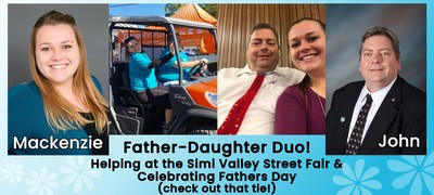 Father-Daughter Duo! Helping at the Simi Valley Street Fair and Celebrating Fathers Day (Check out that tie!). Professional Head Shots of Mackenzie and John. Photo of Mackenzie and John driving a golf cart at Simi Valley Street Fair, and photo of John and Mackenzie sitting together - John is wearing a homemade Fathers Day tie that Mackenzie decorated as a child.