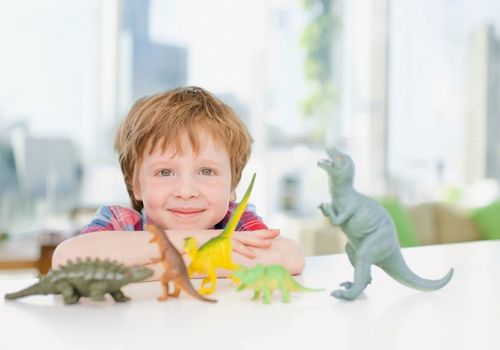 Young boy playing with dinosaurs
