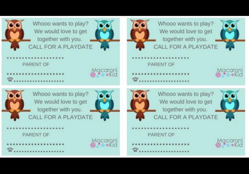 Free playdate card printables