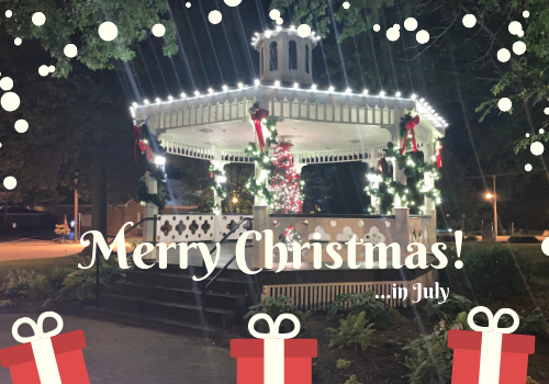 Canfield gazebo decorated for Christmas in July