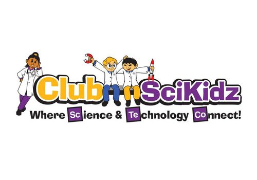 Kids in science coats in text: Club Scikidz Where Science & Technology Connect