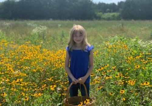 Little girl stands in the middle of a wild flower field.
