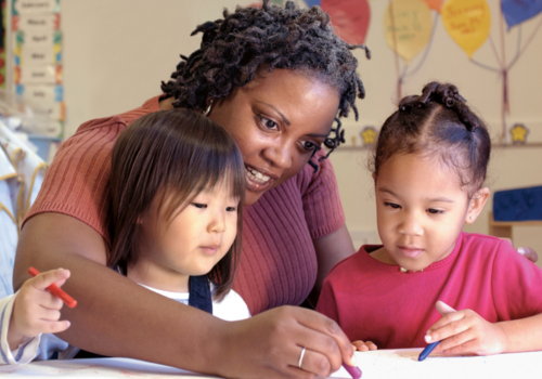 teacher, students, preschooler, classroom