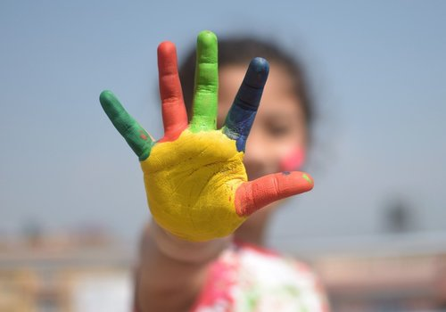 Painted hand of a child, Chestermere Playschool