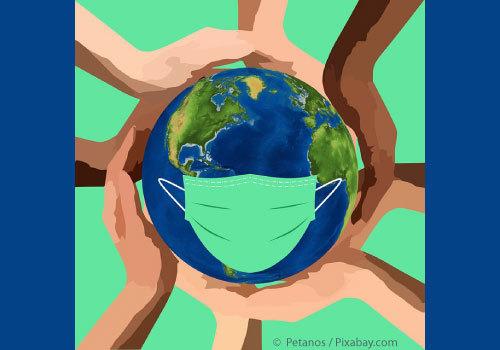 Corona Virus / COVID-19 caring hands encircling masked globe