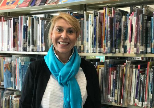 Ventress Memorial Library Children's Librarian Monica Brennan in the Children's Dept