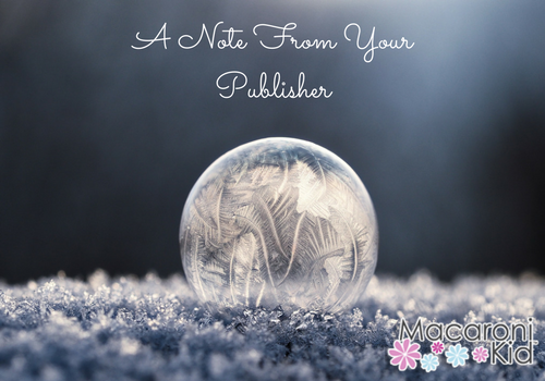 A Note From Your Publisher Winter Bubble