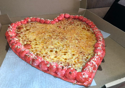 heart shaped pizza for Valentine's Day at Hold My Knots