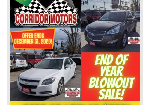 car dealership end of year blowout sale Cedar Rapids corridor motors iowa