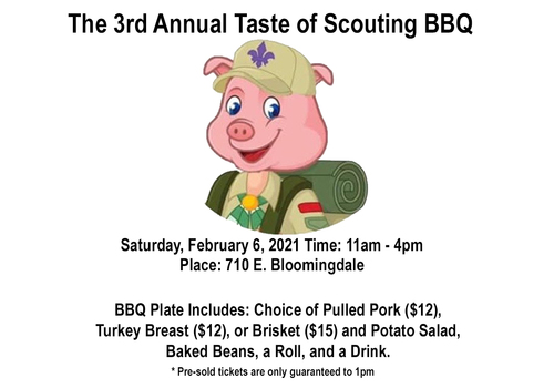 Pig in Boy Scout Uniform for Scouting BBQ