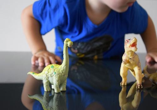 kid playing with dinosaur