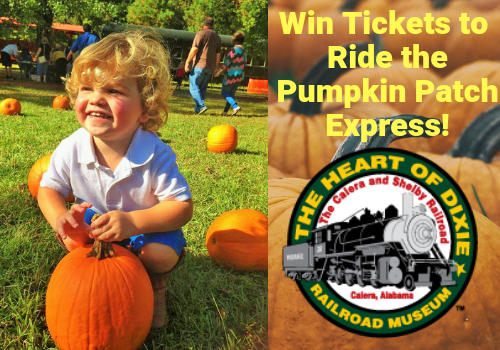 win tickets to ride the pumpkin patch express coming to the Heart of Dixie Railroad in October, near Birmingham.