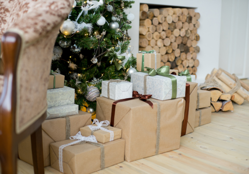 Christmas gifts in brown paper