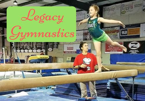 Girl on the balance beam at Legacy Gymnastics
