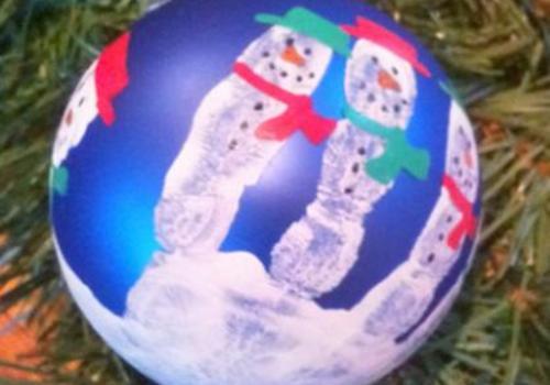 Handprint Snowmen Ornament kids can make
