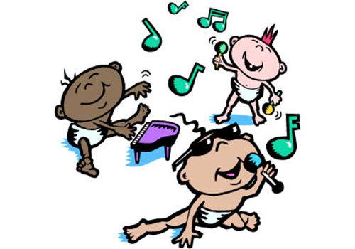 Babies playing music