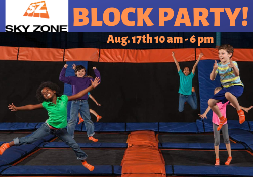 Back to School Block Party at Sky Zone Hoover, near Birmingham, Alabama will feature lots of games, inflatables, food trucks and more!