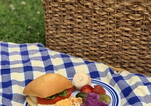 Picnic plate full of items bought at the H Street Farmers Market.