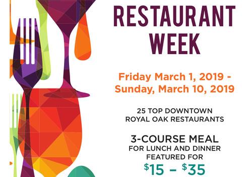 poster for Royal oak Restaurant week