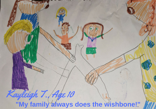 Marker drawing by Kayleigh T., Age 10, depicting her family breaking a wishbone for Thanksgiving.