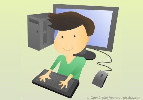 Cartoon Boy and computer