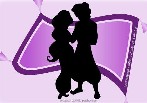 Aladdin & Jasmine Silhouette over Magic Carpet