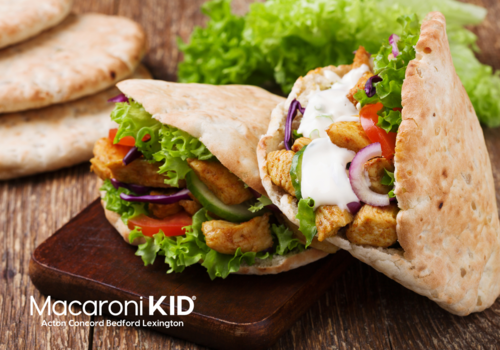 Chicken with salad in pita bread