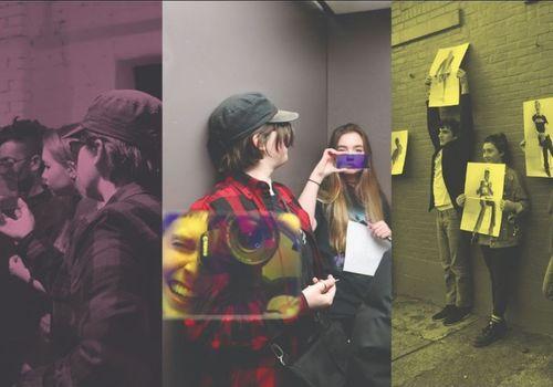 Teens taking photos in an art gallery