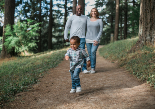 family taking hike