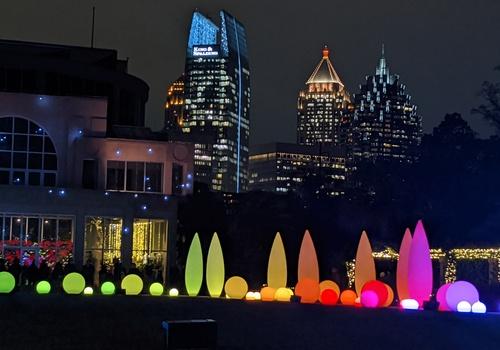 holiday lights, city skyline