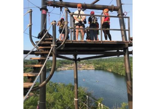 Top of Zipline across lake
